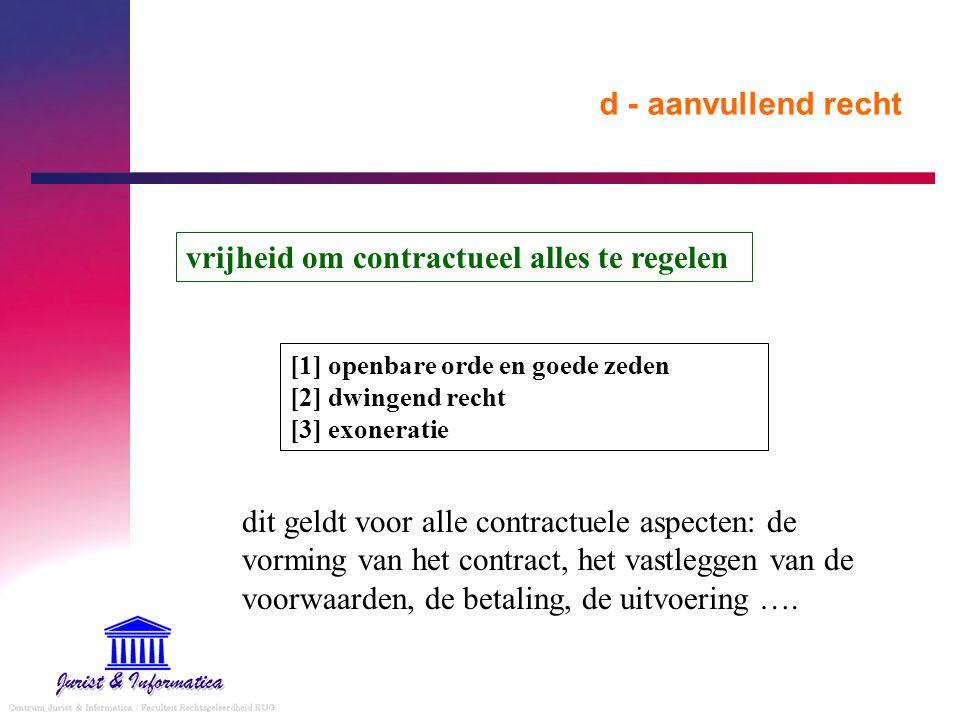 d - aanvullend recht vrijheid om contractueel alles te regelen [1] openbare orde en goede zeden [2] dwingend recht [3] exoneratie dit geldt voor alle