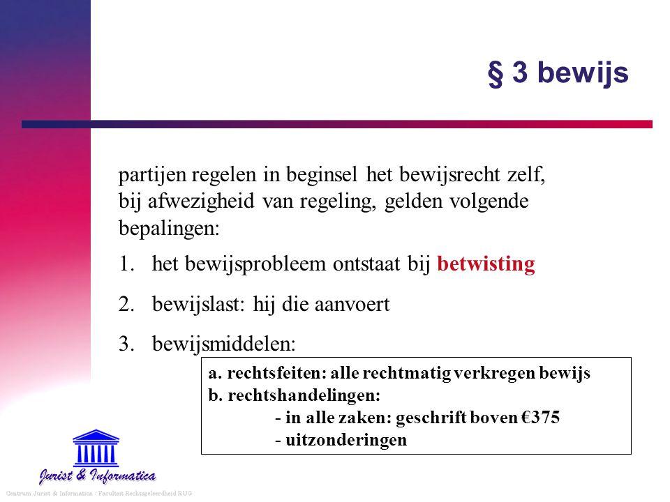 § 3 bewijs partijen regelen in beginsel het bewijsrecht zelf, bij afwezigheid van regeling, gelden volgende bepalingen: 1.het bewijsprobleem ontstaat