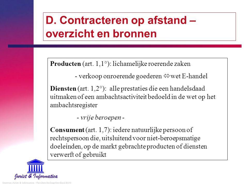 D. Contracteren op afstand – overzicht en bronnen Producten (art. 1,1°): lichamelijke roerende zaken - verkoop onroerende goederen  wet E-handel Dien