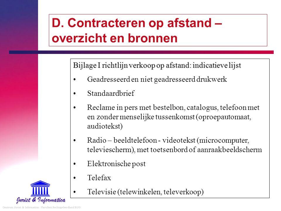 D. Contracteren op afstand – overzicht en bronnen Bijlage I richtlijn verkoop op afstand: indicatieve lijst Geadresseerd en niet geadresseerd drukwerk