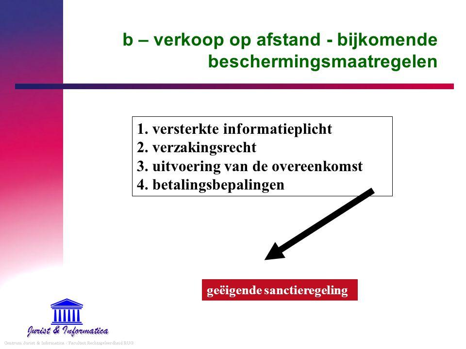 b – verkoop op afstand - bijkomende beschermingsmaatregelen 1. versterkte informatieplicht 2. verzakingsrecht 3. uitvoering van de overeenkomst 4. bet