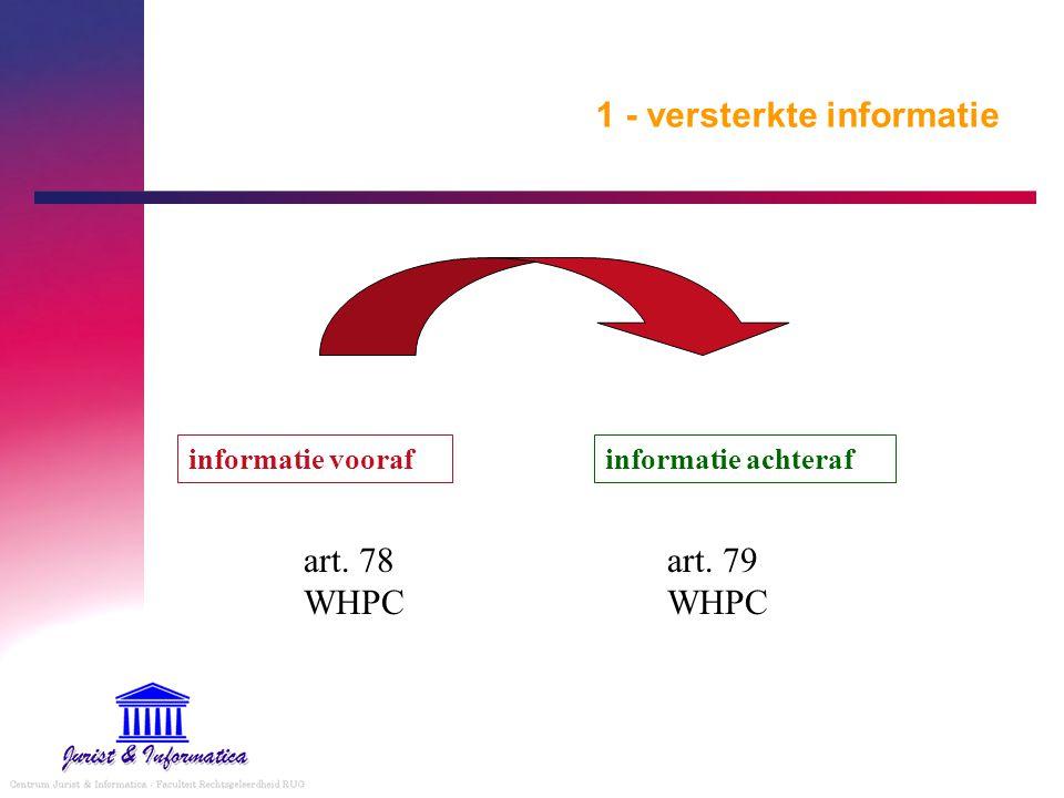 1 - versterkte informatie informatie voorafinformatie achteraf art. 78 WHPC art. 79 WHPC