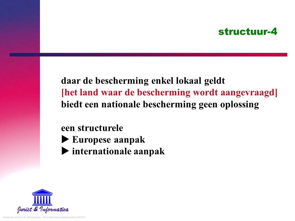 structuur-4 daar de bescherming enkel lokaal geldt [het land waar de bescherming wordt aangevraagd] biedt een nationale bescherming geen oplossing een structurele  Europese aanpak  internationale aanpak