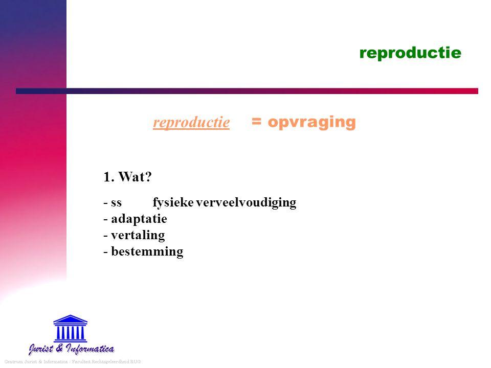 reproductie reproductie = opvraging 1.Wat.