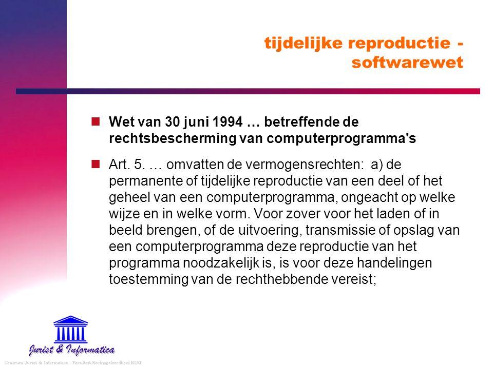 tijdelijke reproductie - softwarewet Wet van 30 juni 1994 … betreffende de rechtsbescherming van computerprogramma s Art.