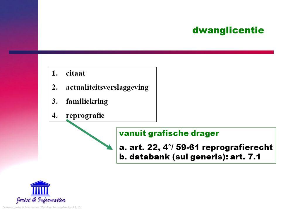 dwanglicentie 1.citaat 2.actualiteitsverslaggeving 3.familiekring 4.reprografie vanuit grafische drager a.