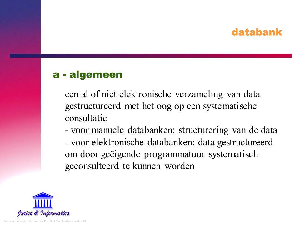 databank een al of niet elektronische verzameling van data gestructureerd met het oog op een systematische consultatie - voor manuele databanken: structurering van de data - voor elektronische databanken: data gestructureerd om door geëigende programmatuur systematisch geconsulteerd te kunnen worden a - algemeen