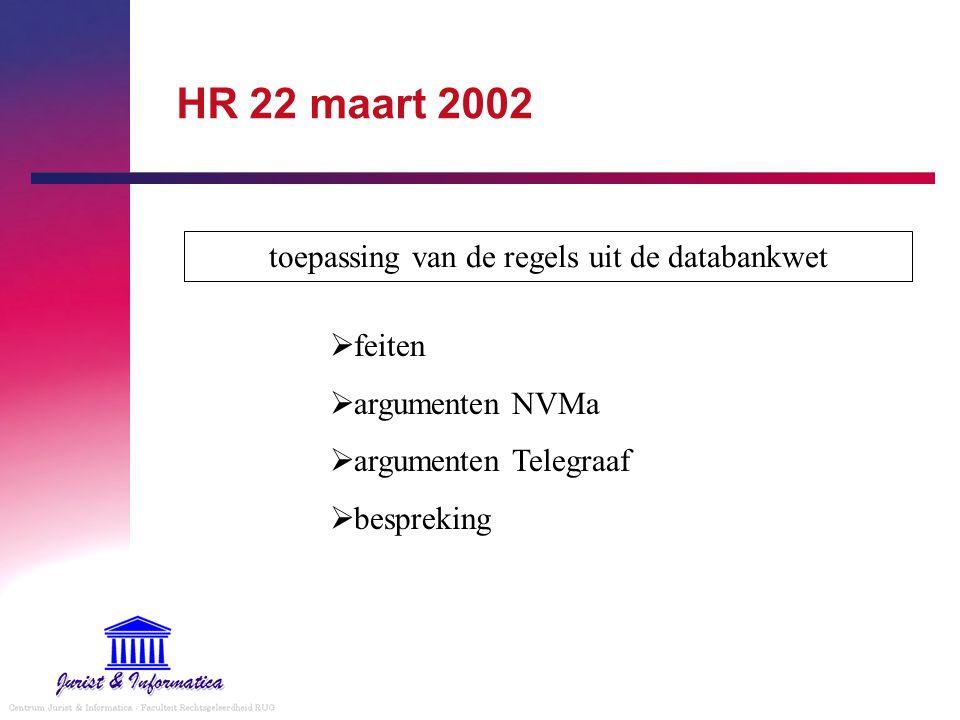 HR 22 maart 2002 toepassing van de regels uit de databankwet  feiten  argumenten NVMa  argumenten Telegraaf  bespreking