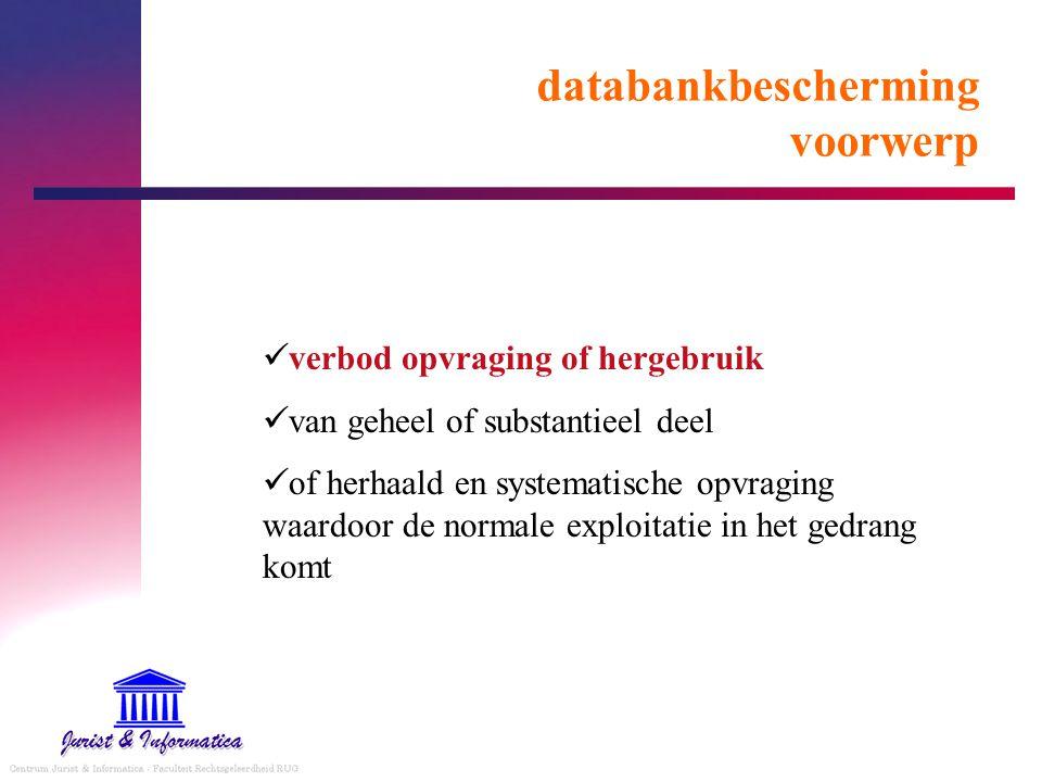 databankbescherming voorwerp verbod opvraging of hergebruik van geheel of substantieel deel of herhaald en systematische opvraging waardoor de normale exploitatie in het gedrang komt