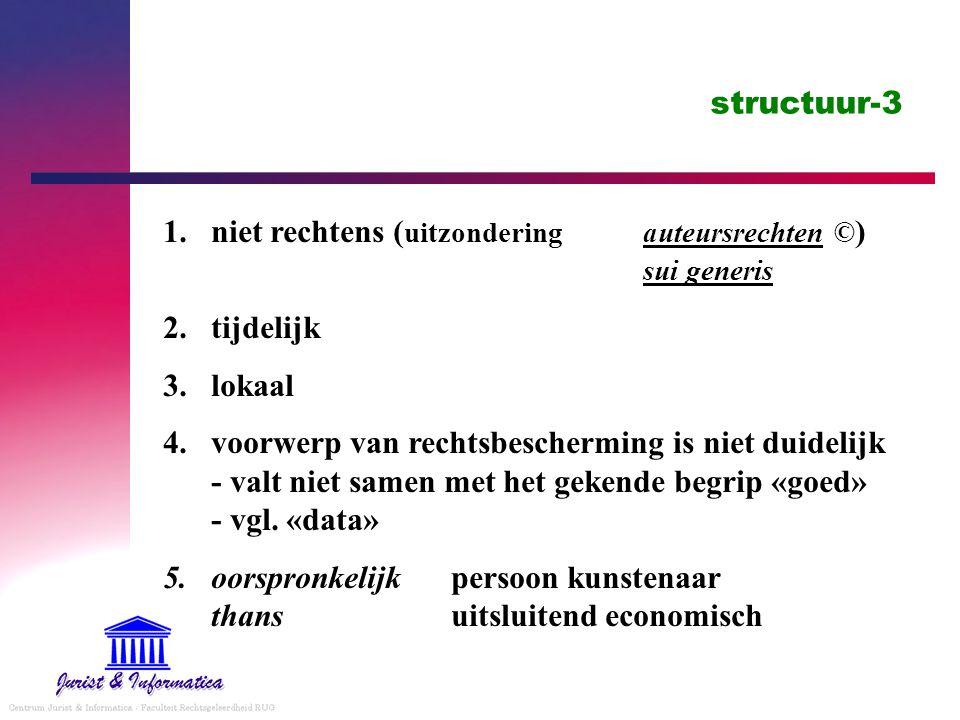 structuur-3 1.niet rechtens ( uitzondering auteursrechten © ) sui generis 2.tijdelijk 3.lokaal 4.voorwerp van rechtsbescherming is niet duidelijk - valt niet samen met het gekende begrip «goed» - vgl.