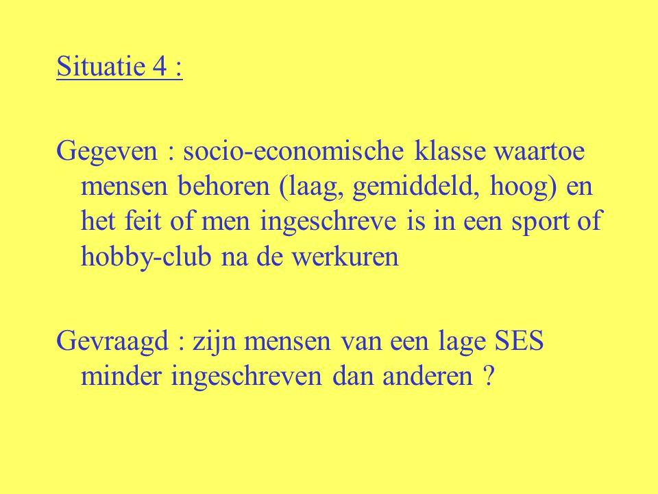 Situatie 4 : Gegeven : socio-economische klasse waartoe mensen behoren (laag, gemiddeld, hoog) en het feit of men ingeschreve is in een sport of hobby-club na de werkuren Gevraagd : zijn mensen van een lage SES minder ingeschreven dan anderen ?