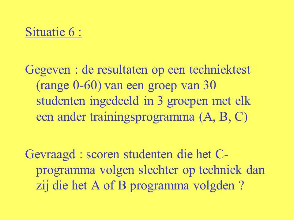 Situatie 6 : Gegeven : de resultaten op een techniektest (range 0-60) van een groep van 30 studenten ingedeeld in 3 groepen met elk een ander trainingsprogramma (A, B, C) Gevraagd : scoren studenten die het C- programma volgen slechter op techniek dan zij die het A of B programma volgden ?