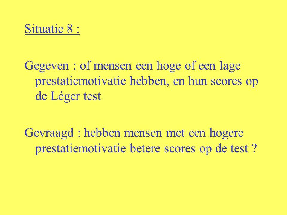 Situatie 8 : Gegeven : of mensen een hoge of een lage prestatiemotivatie hebben, en hun scores op de Léger test Gevraagd : hebben mensen met een hogere prestatiemotivatie betere scores op de test ?