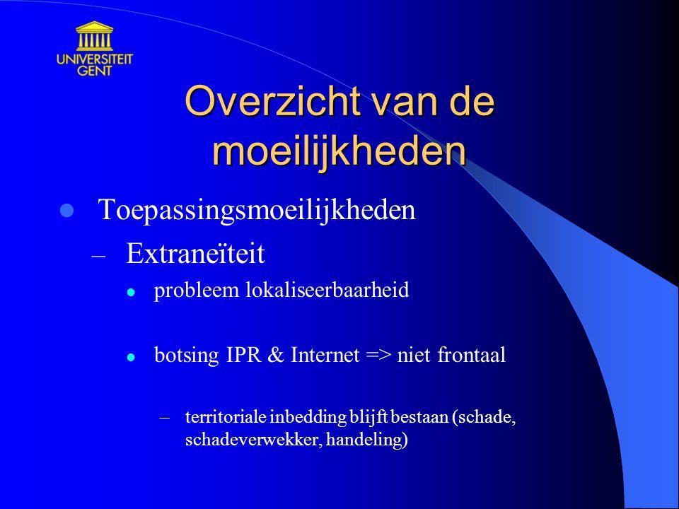 Overzicht van de moeilijkheden Toepassingsmoeilijkheden – Extraneïteit probleem lokaliseerbaarheid botsing IPR & Internet => niet frontaal –territoria