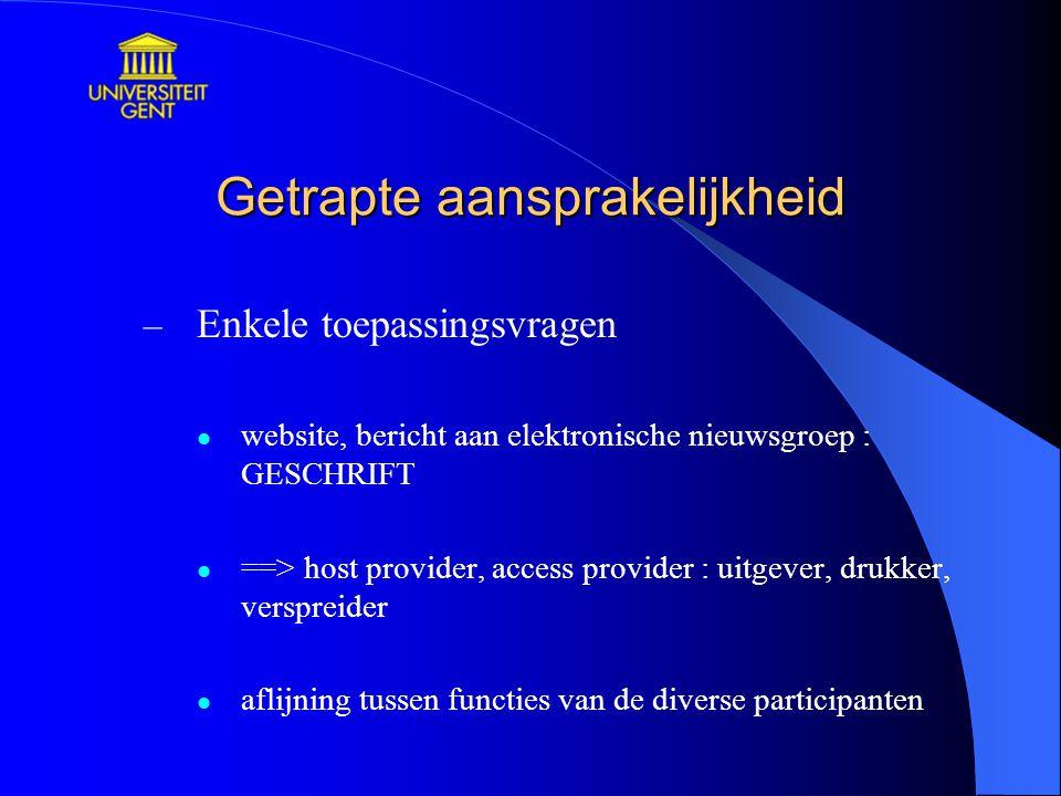 Getrapte aansprakelijkheid – Enkele toepassingsvragen website, bericht aan elektronische nieuwsgroep : GESCHRIFT ==> host provider, access provider :