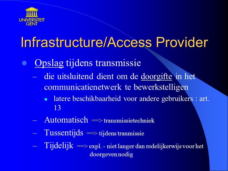 Infrastructure/Access Provider Opslag tijdens transmissie – die uitsluitend dient om de doorgifte in het communicatienetwerk te bewerkstelligen latere beschikbaarheid voor andere gebruikers : art.