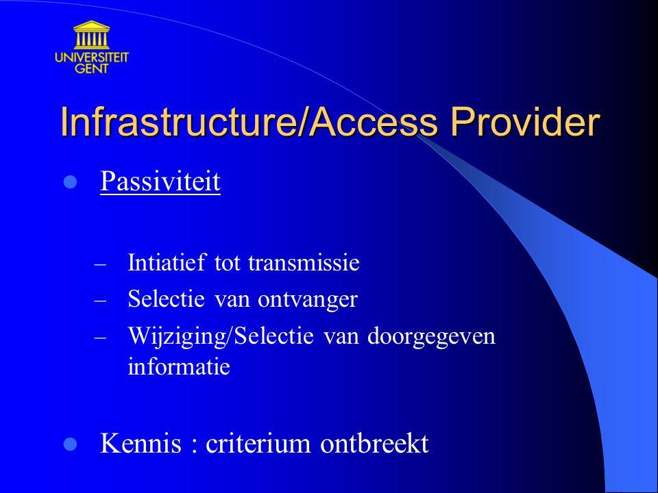 Infrastructure/Access Provider Passiviteit – Intiatief tot transmissie – Selectie van ontvanger – Wijziging/Selectie van doorgegeven informatie Kennis : criterium ontbreekt