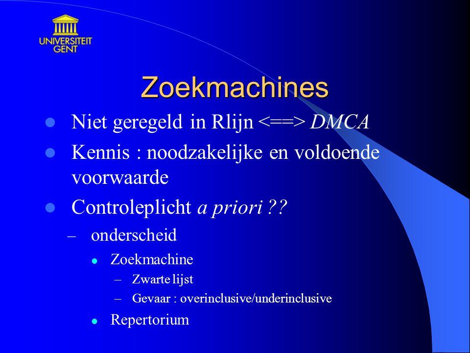 Zoekmachines Niet geregeld in Rlijn DMCA Kennis : noodzakelijke en voldoende voorwaarde Controleplicht a priori ?.