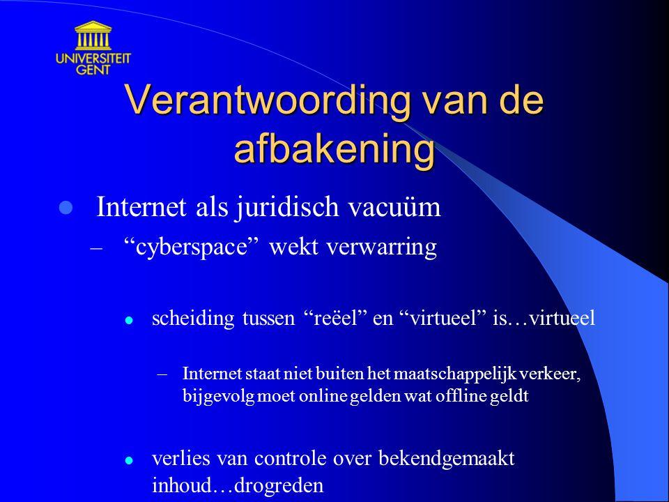 """Verantwoording van de afbakening Internet als juridisch vacuüm – """"cyberspace"""" wekt verwarring scheiding tussen """"reëel"""" en """"virtueel"""" is…virtueel –Inte"""
