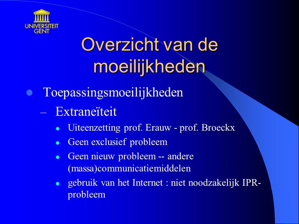 Overzicht van de moeilijkheden Toepassingsmoeilijkheden – Extraneïteit Uiteenzetting prof. Erauw - prof. Broeckx Geen exclusief probleem Geen nieuw pr