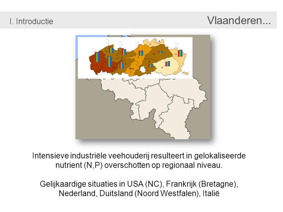 Overschrijding EU Nitraat richtlijn % in 2003-2004 % in 2004-2005 % in 2005-2006 Mestoverschot op grond balans I.