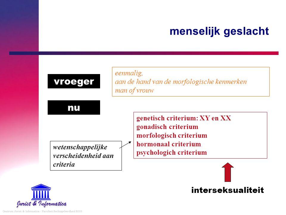 menselijk geslacht vroeger nu eenmalig, aan de hand van de morfologische kenmerken man of vrouw genetisch criterium: XY en XX gonadisch criterium morf