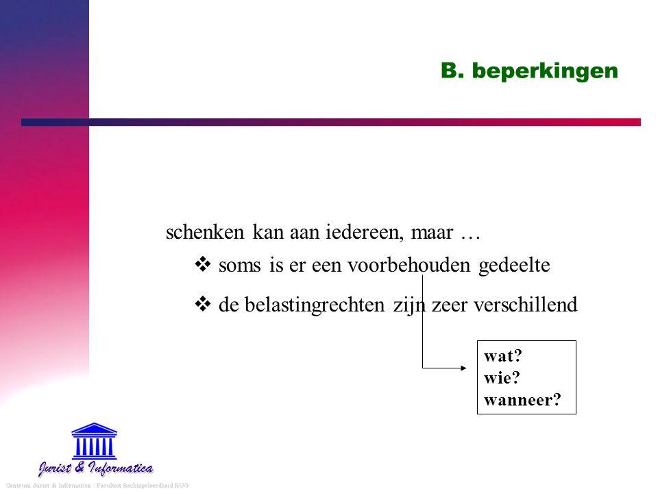 B. beperkingen schenken kan aan iedereen, maar …  soms is er een voorbehouden gedeelte  de belastingrechten zijn zeer verschillend wat? wie? wanneer