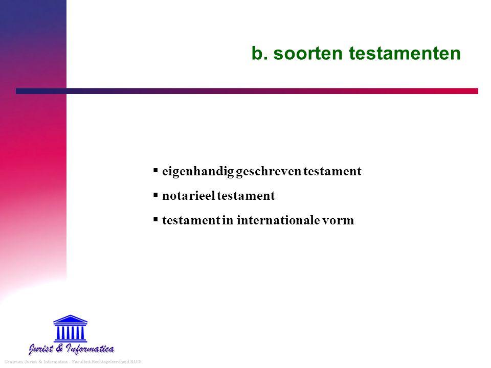 b. soorten testamenten  eigenhandig geschreven testament  notarieel testament  testament in internationale vorm