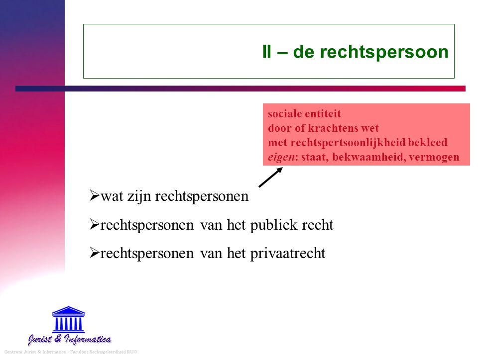 II – de rechtspersoon  wat zijn rechtspersonen  rechtspersonen van het publiek recht  rechtspersonen van het privaatrecht sociale entiteit door of