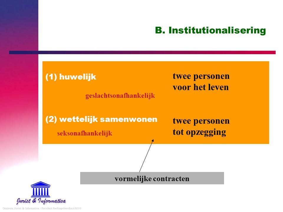 B. Institutionalisering (1) huwelijk (2) wettelijk samenwonen twee personen voor het leven twee personen tot opzegging vormelijke contracten seksonafh