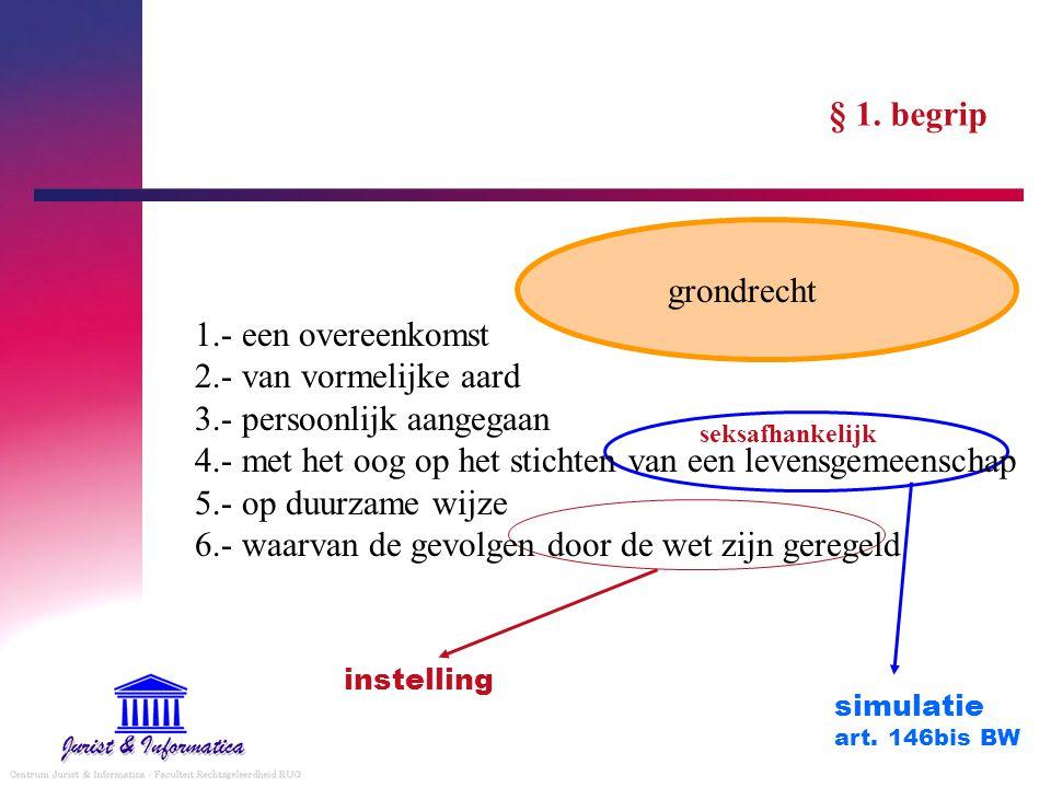 § 1. begrip 1.- een overeenkomst 2.- van vormelijke aard 3.- persoonlijk aangegaan 4.- met het oog op het stichten van een levensgemeenschap 5.- op du