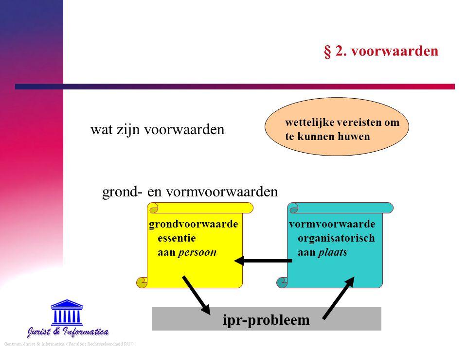 § 2. voorwaarden wat zijn voorwaarden grond- en vormvoorwaarden wettelijke vereisten om te kunnen huwen vormvoorwaarde organisatorisch aan plaats gron