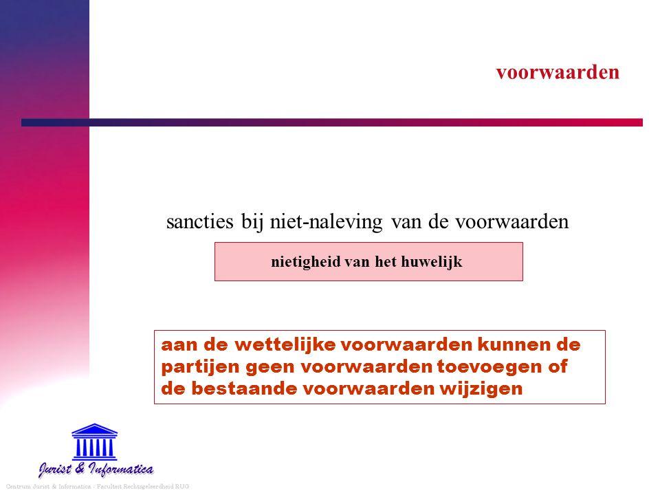 voorwaarden sancties bij niet-naleving van de voorwaarden nietigheid van het huwelijk aan de wettelijke voorwaarden kunnen de partijen geen voorwaarde