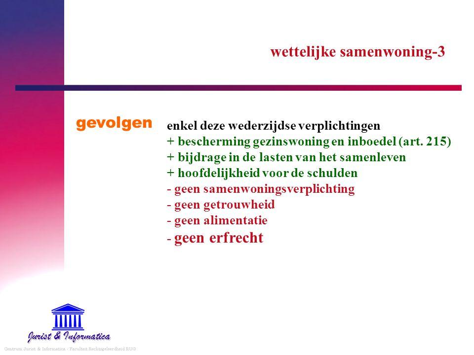 wettelijke samenwoning-3 gevolgen enkel deze wederzijdse verplichtingen + bescherming gezinswoning en inboedel (art. 215) + bijdrage in de lasten van