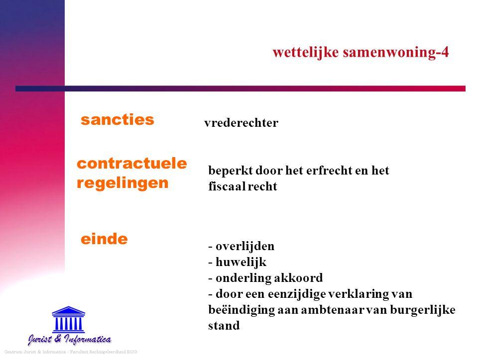 wettelijke samenwoning-4 sancties - overlijden - huwelijk - onderling akkoord - door een eenzijdige verklaring van beëindiging aan ambtenaar van burge
