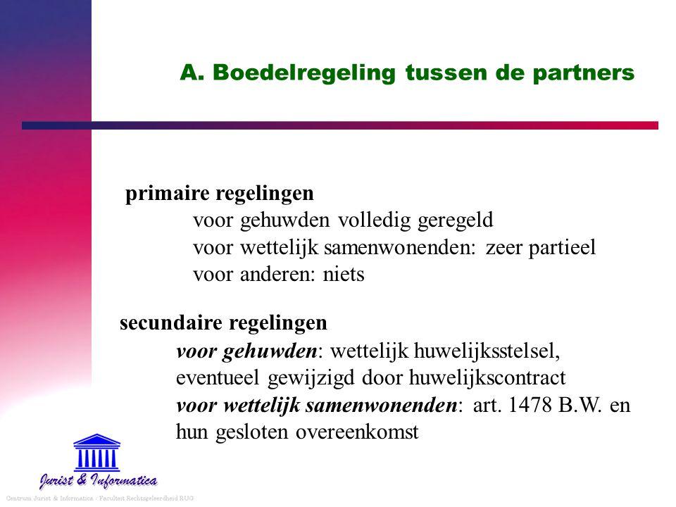 A. Boedelregeling tussen de partners primaire regelingen voor gehuwden volledig geregeld voor wettelijk samenwonenden: zeer partieel voor anderen: nie