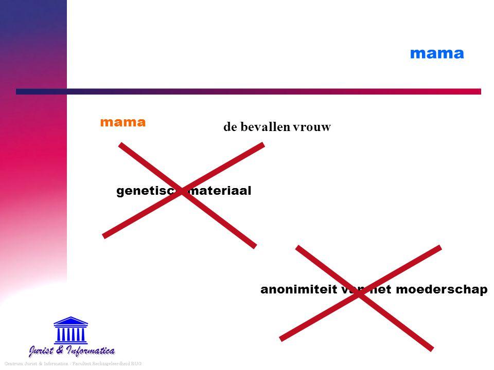 mama de bevallen vrouw anonimiteit van het moederschap genetisch materiaal