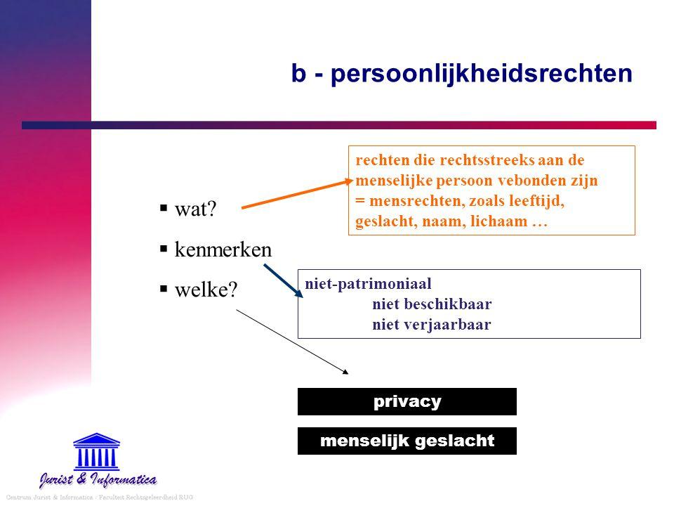 b - persoonlijkheidsrechten  wat?  kenmerken  welke? menselijk geslacht privacy rechten die rechtsstreeks aan de menselijke persoon vebonden zijn =