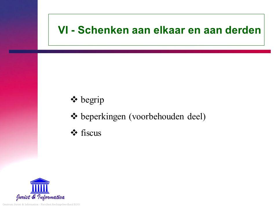 VI - Schenken aan elkaar en aan derden  begrip  beperkingen (voorbehouden deel)  fiscus