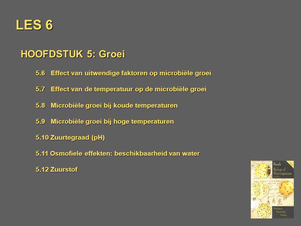 LES 5 HOOFDSTUK 5: Groei 5.6 Effekt van uitwendige faktoren op microbiële groei 5.7 Effekt van de temperatuur op de microbiële groei 5.8 Microbiële groei bij koude temperaturen 5.9 Microbiële groei bij hoge temperaturen 5.10 Zuurtegraad (pH) 5.11 Osmofiele effekten: beschikbaarheid van water 5.12 Zuurstof