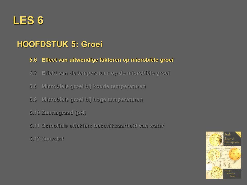 LES 6 HOOFDSTUK 5: Groei 5.6 Effect van uitwendige faktoren op microbiële groei 5.7 Effekt van de temperatuur op de microbiële groei 5.8 Microbiële gr