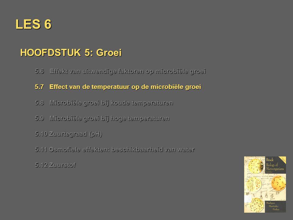 LES 6 HOOFDSTUK 5: Groei 5.6 Effekt van uitwendige faktoren op microbiële groei 5.7 Effect van de temperatuur op de microbiële groei 5.8 Microbiële gr