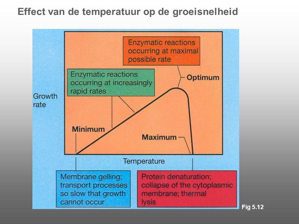 Effect van de temperatuur op de groeisnelheid Fig 5.12