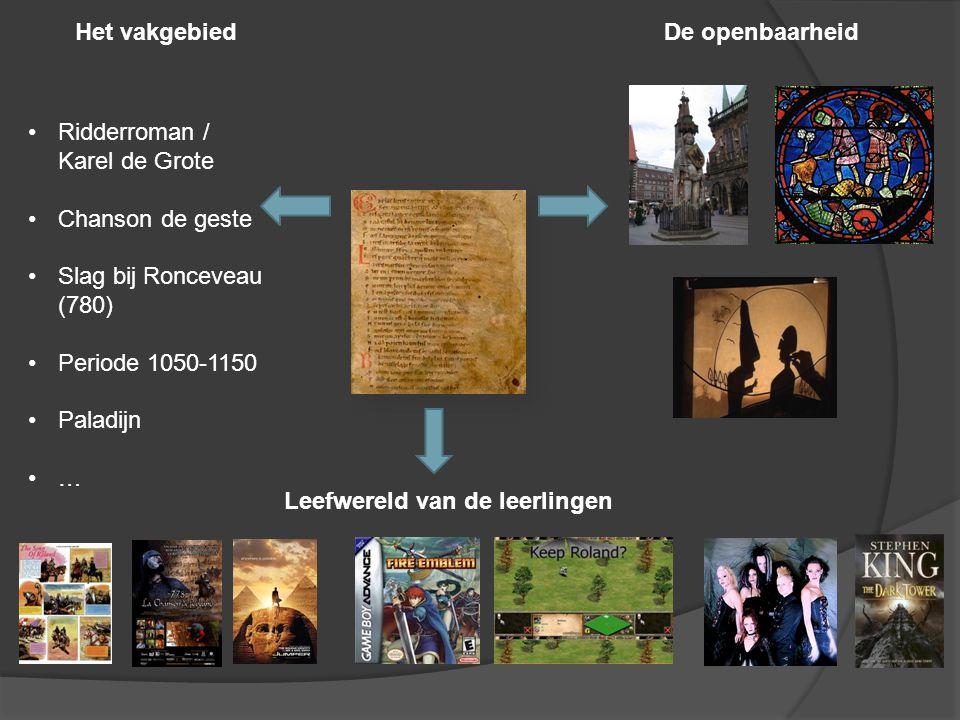 Het vakgebiedDe openbaarheid Leefwereld van de leerlingen Ridderroman / Karel de Grote Chanson de geste Slag bij Ronceveau (780) Periode 1050-1150 Paladijn …