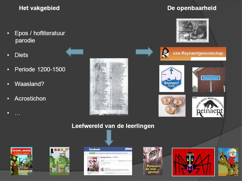 Het vakgebiedDe openbaarheid Leefwereld van de leerlingen Epos / hofliteratuur parodie Diets Periode 1200-1500 Waasland.