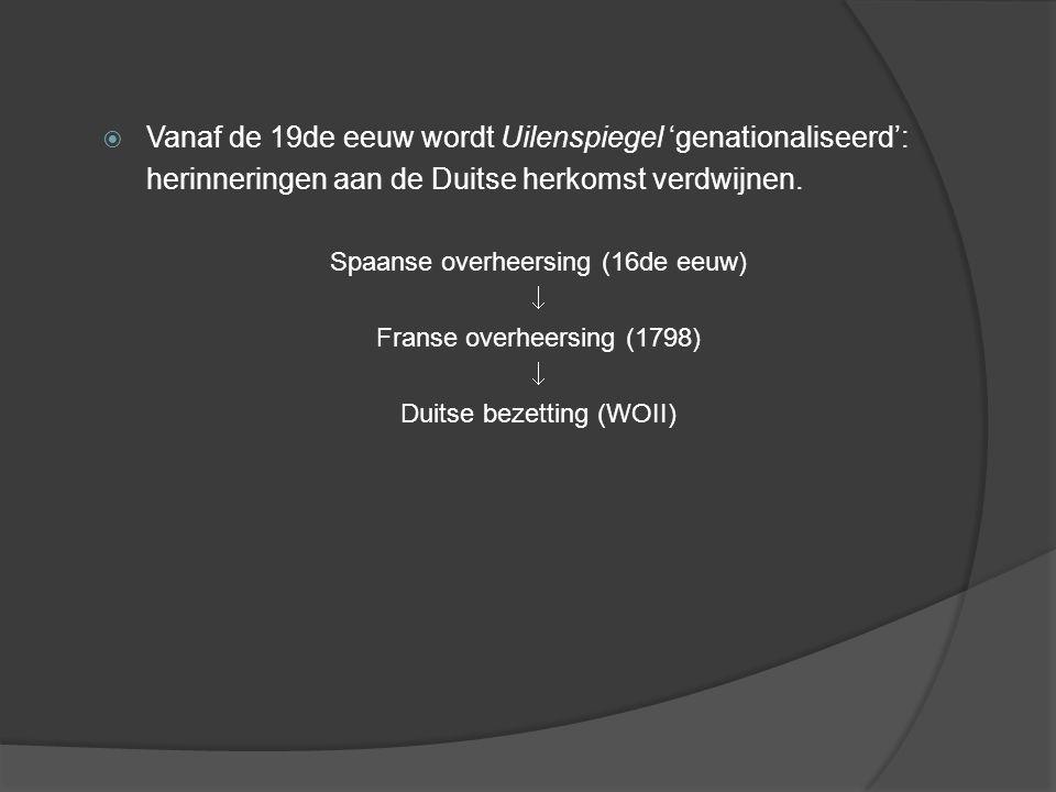  Vanaf de 19de eeuw wordt Uilenspiegel 'genationaliseerd': herinneringen aan de Duitse herkomst verdwijnen.