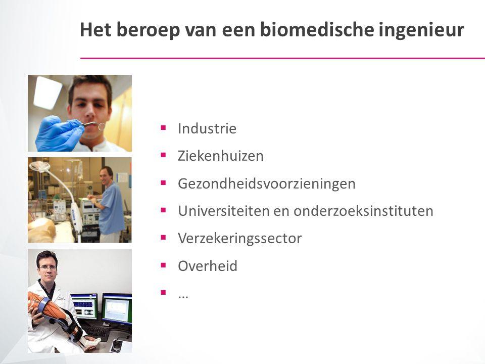 Het beroep van een biomedische ingenieur  Industrie  Ziekenhuizen  Gezondheidsvoorzieningen  Universiteiten en onderzoeksinstituten  Verzekerings