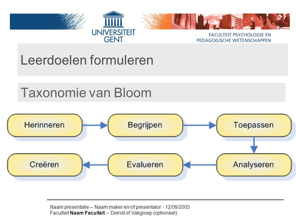 Leerdoelen formuleren Taxonomie van Bloom Naam presentatie – Naam maker en/of presentator - 12/09/2005 Faculteit Naam Faculteit – Dienst of Vakgroep (