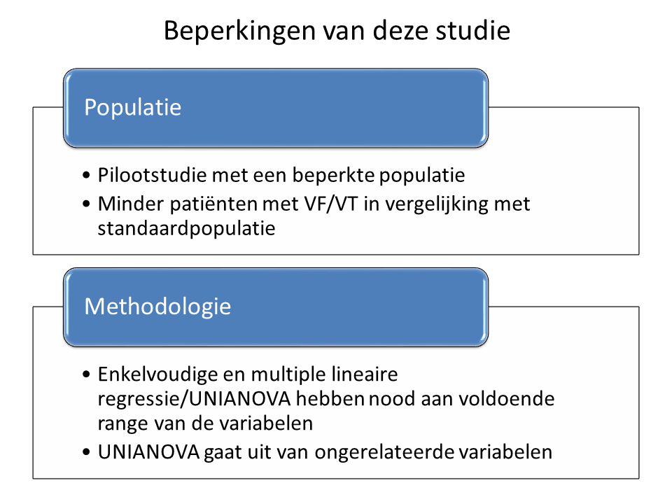 Beperkingen van deze studie Pilootstudie met een beperkte populatie Minder patiënten met VF/VT in vergelijking met standaardpopulatie Populatie Enkelv