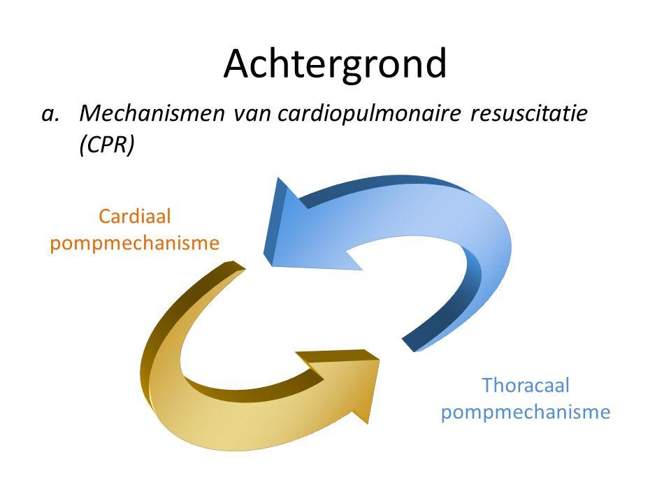 Achtergrond a.Mechanismen van cardiopulmonaire resuscitatie (CPR) Cardiaal pompmechanisme Thoracaal pompmechanisme